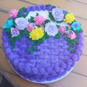 Purple Floral Basket Cake