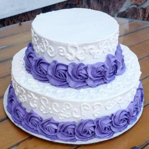 Purple White Tiered Cake