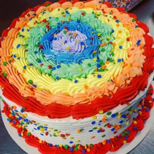 Rainbow Confetti Ring Cake