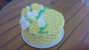 Yellow Floral Basket Weave Cake